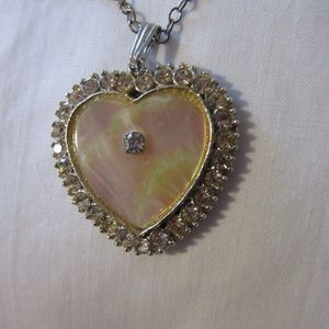 Vintage Pearl Heart Pendant Necklace